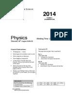 Sydney Grammar 2014 Physics Prelim Yearly & Solutions