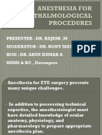 anesthesia for opthalmological surgeries