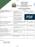 Action Plan in Mathematics. 2019-2020