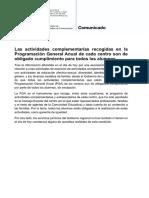 Nota de prensa de la Consejería de Educación y Cultura de La Rioja