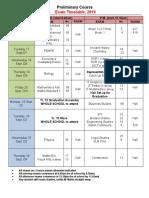 SMCC Prelim Exam Timetable 2019