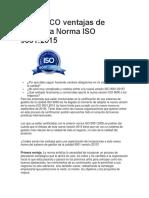 Las CINCO Ventajas de Utilizar La Norma ISO 9001