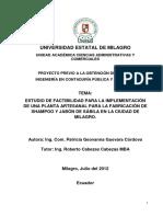 Estudio de Factibilidad Para La Implementación de Una Planta Artesanal Para La Fabricación de Shampoo y Jabón de Sábila en La Ciudad de Milagro