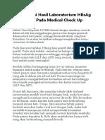 Interpretasi Hasil Laboratorium HBsAg Positif Pada Medical Check Up
