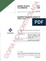 Ntc 3320 - Recubrimientos de Cinc (Galvanizado Por Inmersion en Caliente