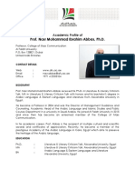 Academic Profile of Prof. Nasr Mohammad Ibrahim Abbas