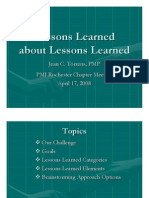 Lessons Learned About Lesson Learned