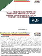 1) 1° FASE DEL PLAN DE RENOVACIÓN, RECTIFICACIÓN Y CAMBIOS DEL MINISTERIO.