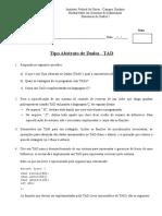 Lista de Exercícios - Tipo Abstrato de Dados - TAD
