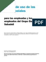 Uso de la redes Sociales  para el grupo Banco Sabadell