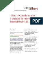 Omar Aktouf - Non, Le Canada n'a Rien à Craindre Du «Terrorisme International»! Si...
