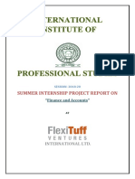 Flexituff Ventures International Ltd. Project Report on Finance and Accounts