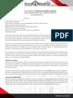 Presentación de Plan de Trabajo y Principales Medidas de Gabinete Ministerial