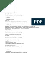 Provider Facility Information