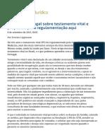 Lições de Portugal Sobre Testamento Vital e e Propostas Para Regulamentação Aqui