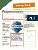 Swamp Talk, Okefenokee Toastmasters newsletter, November 2019