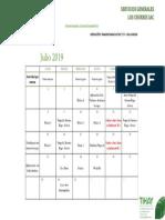 Cronograma Julio 2019