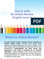 How to Write an Article Review