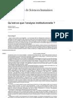 Qu'Est-ce Que l'Analyse Institutionnelle