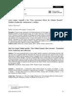 José Ángel Valente y Las Dos Versiones Libres de Güner Kunert. Palabra Traducida_testimonio y Reflejo