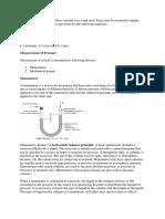 Manometer Notes