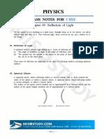 Reflection of Light Class 10, Physics CBSE Class Note