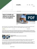 Istat_ in Italia Un Minore Su Quattro è in Sovrappeso - Repubblica.it