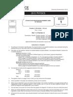 2013 Physics Examination Paper
