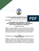 REGLAMENTO DEL PERSONAL DOCENTE, INVESTIGACIÓN Y EXTENSIÓN DE LA UNIVERSIDAD MILITAR BOLIVARIANA DE VENEZUELA