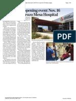 Grand opening event Nov. 16 for Abrazo Mesa Hospital