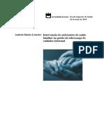Projeto de estagio INTERVENÇÃO DO ENFERMEIRO DE SAÚDE FAMILIAR NA GESTÃO DA SOBRECARGA DO CUIDADOR INFORMAL