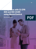 Compliance With 21 Cfr 820 and Iso 13485 Using Mastercontrol