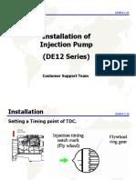 Installation of Injection Pump DE12 SERIES