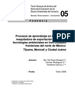 2235 Learning Processes in Maquiladora Export Industry and Environmental Technologies in Es