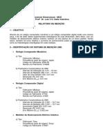 Relatório Medição Relógios Comparadores