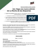La Noche de Las Disquerías 2019 - Info de Prensa