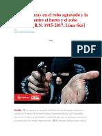 La«Amenaza» en El Robo Agravado y La Diferencia Entre El Hurto y El Robo Agravado [R.N. 1915-2017, Lima Sur]