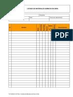 Fo.P.ssom.O.14-01 Rev. 0 Listados de Materiales Químicos en Obra