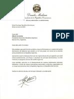 Carta de felicitación del presidente Danilo Medina a Alberto Fernández, presidente electo de Argentina