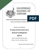 Poyecto Integrador Proceso de Extrusión de La Aleación de Magnesio AZ91D