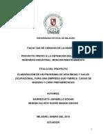 Elaboracion de Un Programa de Seguridad y Salud Ocupacional Para Una Empresa Que Fabrica Casas de Madera y Caña Pre-fabricada