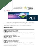 Torneo Provincial 2019 - Comunicación Nro ONCE - 31 Octubre 2019