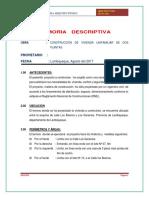 Memoria Descriptiva y Especificaciones Técnicas vivienda