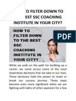 How to Filter Down to the Best Ssc Coaching Institue in Your City