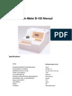 Bilirubin Meter b-105n Instruction/User Manual