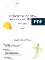 Introduction to Data Analysis and Mining