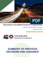 Colorado Department of Transportation October 2019 Colorado Transportation Commission Project List
