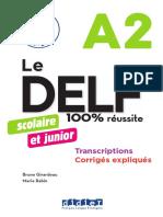 Livret DELF A2 Junior Transcriptions Corriges