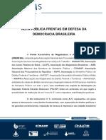 Nota Pública Frentas em Defesa da Democracia - Declarações Eduardo Bolsonaro