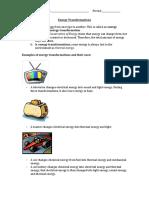 energy transformation practice 1